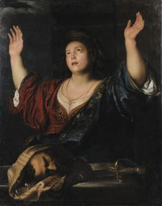 SEGHERS, Gerard Judith with the Head of Holofernes - Oil on canvas, 118 x 93 cm Private collection Judith And Holofernes, Artemisia Gentileschi, Ideal Girl, Dutch Golden Age, Renaissance Paintings, Exhibition, Caravaggio, Hair Ornaments, Cultura Pop