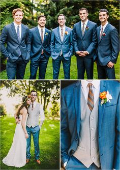 Love this look with blue suits, orange skinny ties and groom in vest and suit jacket. Groomsmen could just be in blue pants and orange tie Teal Groomsmen, Mismatched Groomsmen, Groomsmen Looks, Groom And Groomsmen Attire, Wedding Tux, Wedding Attire, Blue Wedding, Trendy Wedding, Dream Wedding