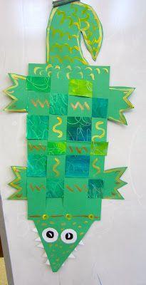 grade gators paper weaving (Could make it a Nile Crocodile) Paper Weaving, Weaving Art, Arte Elemental, First Grade Art, Afrique Art, Animal Art Projects, E Mc2, Kindergarten Art, Preschool