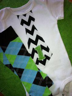 Boy 1st Birthday Chevron Stripe Tie Onesie Shirt Bodysuit with Matching Leg Warmers - Cake Smash, Blue, Lime Green, Argyle Leggings. $26.50, via Etsy.