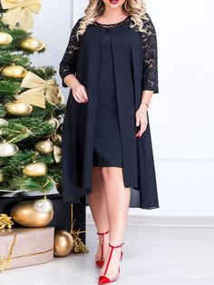 Plus Size Round Neck Sleeve Patchwork Lace Pullover Womens Dress - Wedding Store Plus Size Dresses, Plus Size Outfits, Elegant Dresses, Casual Dresses, Silk Cami Dress, Plus Size Lingerie, Buy Dress, Women's Fashion Dresses, Plus Size Fashion