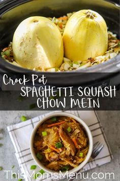 Skip the take out and try this recipe for crockpot spaghetti squash chow mein instead! It's a quick and healthy recipe that practically cooks itself. Crockpot Spaghetti Squash Chow Mein Tara Moyer Low Carb Meal Ideas Skip the take out and t Gourmet Recipes, Crockpot Recipes, Healthy Recipes, Keto Recipes, Healthy Dinners, Healthy Foods, Yummy Recipes, Chicken Recipes, Dinner Recipes