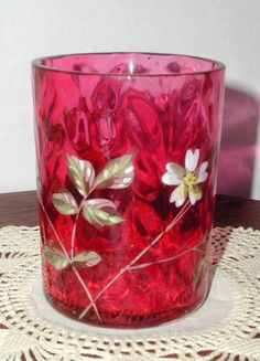 Victorian Enameled Cranberry Glass