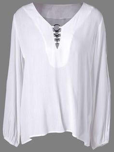 $12.68 Chic Long Sleeve Metal Ring White Blouse