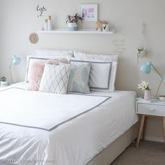 Oh how I love thee! So looking forward to jumping in tonight, especially with this gorgeous Regent quilt cover set by Dream Bedroom, Home Bedroom, Modern Bedroom, Bedroom Decor, Teen Bedroom Designs, Room Planning, Cool Rooms, My New Room, Girl Room
