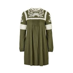 TopShop Embroidered Smock Dress (175 NOK) ❤ liked on Polyvore featuring dresses, khaki, green cotton dress, embroidery dress, green embroidered dress, cotton dress and smock dress