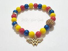 Wonder Woman Beaded Bracelet Super hero by RandRsWristCandy Girls Jewelry, Women Jewelry, Fashion Jewelry, Festival Bracelets, Wonder Woman Birthday, Sister Bracelet, Handmade Beaded Jewelry, Etsy Jewelry, Gifts For Women