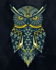 This is a cool vector illustration of an owl. I like the complexity of the owl and also that it is perfectly symmetrical. I think that the complex pattern really works well for the piece. The color scheme is also really nice. Owl Illustration, Animal Illustrations, Owl Artwork, Owl Vector, Owl Tattoo Design, Cute Owl, Skull Art, Art Images, Fantasy Art