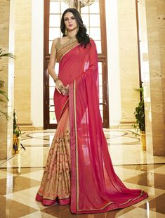 Pink Color New Collection Indian Designer Party wear Georgette Saree Pink+Color+New+Collection+India Georgette Fabric, Georgette Sarees, Lehenga Choli, Indian Dresses, Indian Outfits, Moda India, Beauty And Fashion, Women's Fashion, Casual Saree