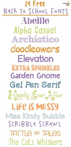 14 Free Back-to-School Fonts, 2016 http://imaginationsoup.net/2016/07/22/14-free-back-school-fonts/