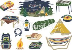 キャンプ アウトドア グッズ Outdoor Camping, Tent, Paper Crafts, Clip Art, Outdoor Products, Templates, Drawings, Drawing Ideas, Illustration