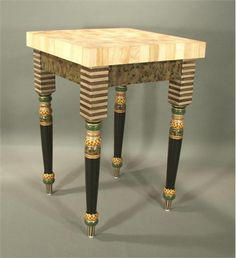 Butcher Block Table by Suzanne Fitch Handpainted Furniture on HomePortfolio