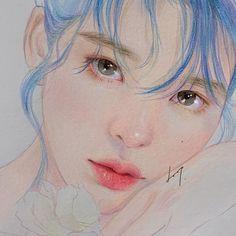 Eque and Beautiful💙 Pretty Art, Cute Art, Art Sketches, Art Drawings, Portrait Art, Portraits, China Art, Korean Art, Human Art