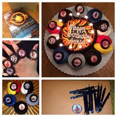 "Divergent themed birthday for my 12 year old. I had the bakery make a 5"" chocolate cake, DauntlessCake of course, iced in black with flames. I also had them ice cupcakes in the colors of the factions - gray for Abnegation, blue for Erudite, red and yellow for Amity, black and white for Candor, and black for Dauntless. I then printed the #Faction symbols and cut them out and glued them onto black plastic cupcake rings. It was a total surprise and SHE LOVED IT!!!! I NEEED THISSSSS!!!!!!"