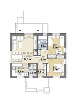 Armida - Dobre Domy Flak & Abramowicz House Layout Plans, My House Plans, Small House Plans, House Layouts, Home Design Plans, Cottage Homes, Kitchen Design, New Homes, Floor Plans