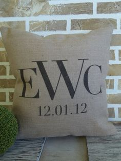 Personalized Monogrammed Pillow with Est. Date on Etsy, $42.00