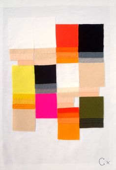 // Rachel Castle - Felt and linen on vintage linen