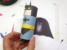 Cardboard Tube Batman by Amanda Formaro of Crafts by Amanda Superman Crafts, Crafts For Girls, Kids Crafts, Cardboard Tube Crafts, Printed Magnets, Comic Book Superheroes, Decoupage Box, Yellow Paper, Kids Playing