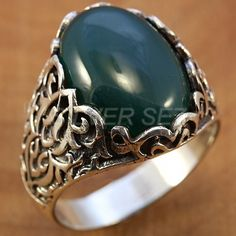 925 sterling silver man ring oval green real natural stone turkish handmade - 5373