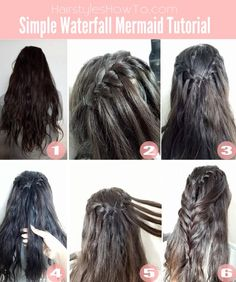 Turn an ordinary Waterfall hairstyle into a Mermaid Waterfall Braid! Easy Fishtail Braid, Fishtail Braid Hairstyles, Try On Hairstyles, Baddie Hairstyles, Braided Hairstyles Tutorials, Box Braids Hairstyles, Trending Hairstyles, Pigtail Braids, Teenage Hairstyles