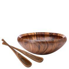 Wood Classics Round Salad Bowl - Dansk | domino.com