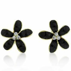 14kt Gold-Plated Floral Earrings with Clear Stones Earrings - Fashion Earrings - Gold Plated. $27.00