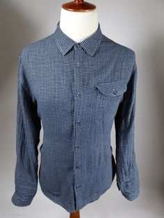 Carbon 2 Cobalt Long Sleeve Button Front Blue Check Light Flannel Shirt Men XL #Carbon2Colbalt #ButtonFront