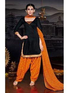Black Orange Glaze Cotton Elegant Patiala Salwar Kameez