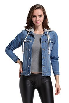 Holdwell Women Button Down Denim Jean Jacket with Drawstring Hood Blue S ** Read more reviews of the product by visiting the link on the image.