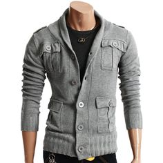 Doublju Mens Casual Strap Knit Jacket - Perfect for fall!!