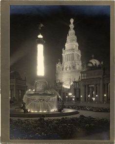 Historypin | Mapping San Francisco's 1915 World's Fair | View of the Tower of Jewels at night, PPIE