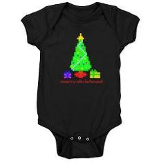 bit christmas dark body suit/onesie > $18.49US > babybitbyte (cafepress.com/babybitbyte) #nerd #geek #christmas #christmasinjuly #holiday #pixel #8bit #pixels #gamer #retro #gamers #christmaspresent #gift #gifts #cafepress