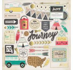 Chipboards 30x30 'Crate Paper - Journey' Qté 42