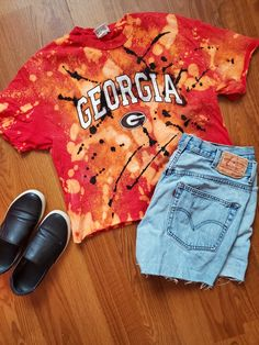Georgia Bulldogs bleach dyed gameday t-shirt Pink And White Dress, Game Day Shirts, Bleach Dye, Distressed Tee, University Of Georgia, Red Blouses, Vintage Denim, Vintage Outfits, Sweaters For Women