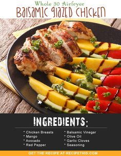 Welcome to my Whole 30 Airfryer Balsamic Glazed Chicken recipe. With a delicious homemade fruity balsamic marinade, this Airfryer meal is perfect for a quick prep and forget meal. Whole 30 Chicken Recipes, Whole 30 Recipes, Paleo Recipes, Dinner Recipes, Delicious Recipes, Balsamic Glazed Chicken, Recipe 30, Air Fryer Recipes, Favorite Recipes