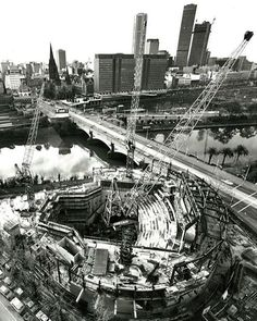 Sticking with the performance art theme here is a very unique view of the construction of Hamer Hall at the Melbourne Arts Centre in 1979. The centre replaced the Snowden Gardens and the Southgate Fountain that were on the site although the fountain wasnt built until 1957. The park was in place for most of the 20th century and contained beautiful gardens and areas of amusement park. #hamerhall #lostmelbourne #history #cfkheritage