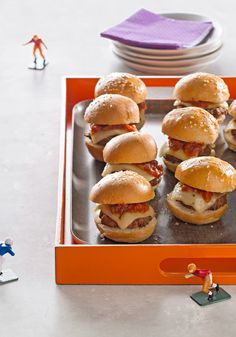 Touchdown Taco Sliders — Here's big flavor in a small package. In this appetizer recipe, taco sliders are topped with pepper jack cheese and salsa for a kick that scores.