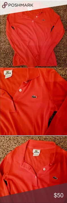 Lacoste Small Long Sleeve Polo 💯 Authentic EUC 💯 Authentic. Made in France. Used once, just don't like the fit on me. Make an offer, bundle to save! From a smoke and pet-free home.  PS: Ladies, be considerate with your ratings, I try to keep my prices low and accept all your offers reason why I try not to spend on wraps and extra packagings. I make sure that the products described are exactly what you' gonna get ❤️ Lacoste Tops Tees - Long Sleeve