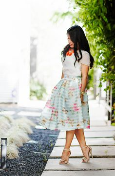 Butterfly Knee Length Skirt available at Mode-sty