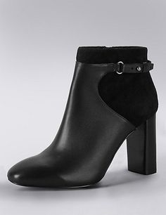 Leather Square Toe Ankle Boots with Insolia® | M&S