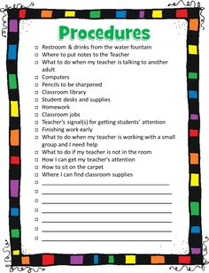 Procedures checklist to go over on 1st day---nice to have a reminder...would love to turn this into an interactive notebook for the smartboard...or even a code scanner with ipads...wheels are spinning:)