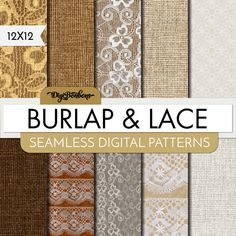 Digital Scrapbook Paper Burlap & Lace Textured Digital Paper Seamless Patterns by DigiBonBons now at http://ift.tt/2CwtMo3