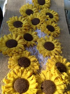 Hand dyed, hand made 4 - 5 golden yellow sunflowers with dark chocolate burlap centers, with soft felt backing. Set of 8 sunflowers.Golden Yellow Sunflowers Country Farmhouse Wedding by resadavid Cloth Flowers, Burlap Flowers, Felt Flowers, Diy Flowers, Fabric Flowers, Paper Flowers, Wedding Flowers, Wedding Veils, Wedding Hair
