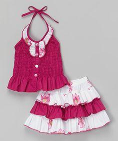 Look at this #zulilyfind! Fuchsia Ruffle Halter Top & Skirt - Toddler & Girls #zulilyfinds