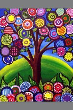 whimsical tree, colourful folk art, typical textile work made into a print Arte Elemental, Art Fantaisiste, Art Populaire, Naive Art, Whimsical Art, Tree Art, Tree Of Life Art, Art Plastique, Elementary Art