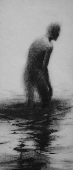 """Clara Lieu, lithographic crayon on Dura-Lar. This drawing is from """"Wading"""", a project that presents the most severe form of isolation as loneliness t. Scary Drawings, Dark Art Drawings, Pencil Drawings, Chiaroscuro, Dibujos Dark, Dark Artwork, Sad Art, Arte Horror, Creepy Art"""