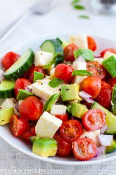 Tomato, Cucumber, Mozzarella and Avocado Salad