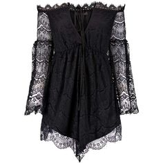Boohoo Anja Off The Shoulder Eyelash Lace Dress featuring polyvore, fashion, clothing, dresses, playsuits, dress black and jumpsuits