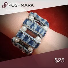 ‼️ $2 OFF SHIPPING ‼️ All girls love denim and pearls!!! Handmade recycled denim bracelet. More pics later. Jewelry Bracelets