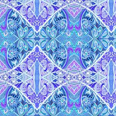 Old Fashioned Twisted Paisley Victorian (in blue) fabric by edsel2084 on Spoonflower - custom fabric